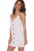 White Linen-Blend Button Down Mini Dress with adjustable spaghetti straps and button front and is lined.  Runs small. Shoulder To Hem Measurement is Approximately 30 in. Fabric Content is 55% Ramie and 45% Linen. The Lining is 100% Rayon.  Machine Wash Cold, Line Dry.