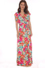 Watercolor Floral Wrap Maxi Dress with Wrap Front Closure and short sleeves fits True To Size.  It is pink, turquoise, and.  Shoulder To Hem Measurement is Approximately 62 inches.  100% Rayon.  Machine Wash Cold, Hang Dry.