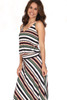 Sleeveless dropped waist maxi dress in green, navy, white and tan stripes has adjustable straps and fits true to size.  Shoulder To Hem Measurement is Approximately 62 in.  Fabric Content is 94% Polyester and 6% Spandex Machine Wash Cold, Tumble Dry Low.