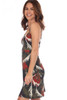 Tank mini dress with adjustable spaghetti straps fits true to size and has a large leaf design in white, red and green khaki.  Shoulder To Hem Measurement is Approximately 35.5 in.  Fabric Content is 94% Polyester and 6% Spandex. Machine Wash Cold, Tumble Dry Low.