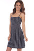Tank mini dress with adjustable spaghetti straps fits true to size and is navy with white polka dots.  Shoulder To Hem Measurement is Approximately 35.5 in.  Fabric Content is 94% Polyester and 6% Spandex. Machine Wash Cold, Tumble Dry Low.
