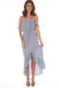 Hi-Lo Stripe Button Down Ruffle Dress