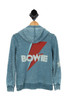 burnout blue hoodie with BOWIE printed at back in white with red lightning bolt. long sleeves.