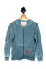burnout blue zip up hoodie with red lightnight strike at front left pocket. long sleeves