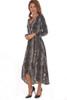 Woven L/S Hi-Lo Wrap Dress