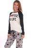 Love Coffee Flannel PJ Set