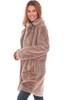Longline Faux Fur Snap Front Jacket