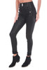 High Rise Wax-Coated Skinny Ankle Jeans