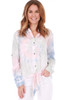 Tie Dye Knot Front Button Down Top