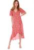 Ruffle Sleeve Faux Wrap Midi Dress