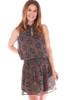 Pleated High Neck Smocked Mini Dress