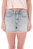 front faded blue high rise denim short