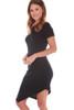Asymmetrical Rib Knit Hem Dress