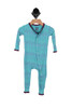 front shows  Classic button up Layette Ruffle Coverall onesie in teal color and  printed trees all over.