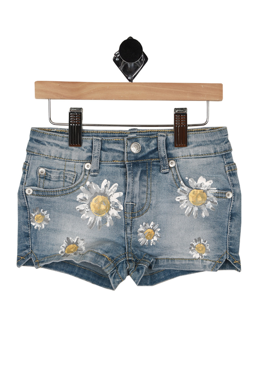 20f8c39921 front shows zipper and snap closure with painted daisies all over front and  pockets.