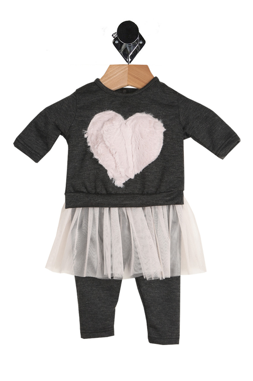 73321f6a95690 Two piece set for baby. Black long sleeve top with a pink faux fur heart