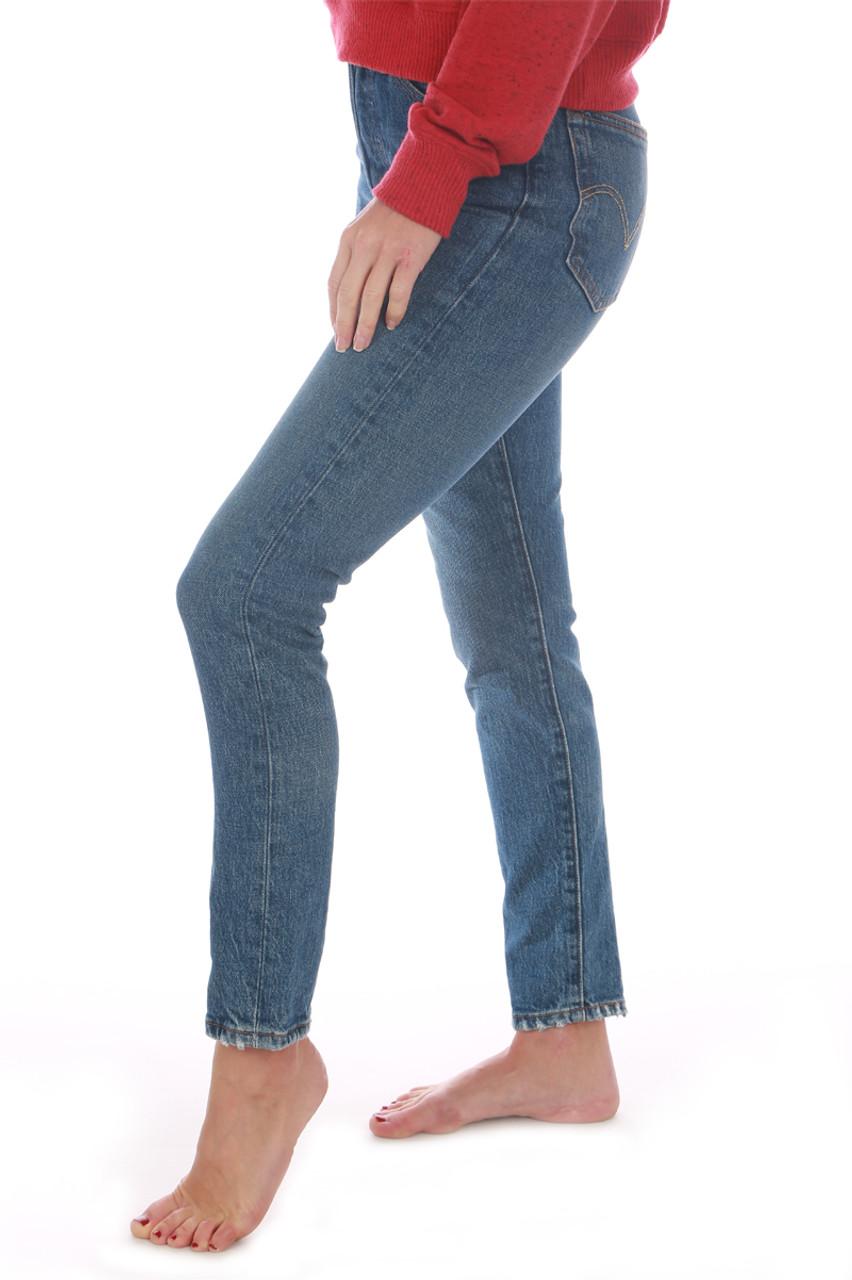 de14c343de7 Part of Levi's premium collection, these 501 blue denim skinny jeans  feature a button fly