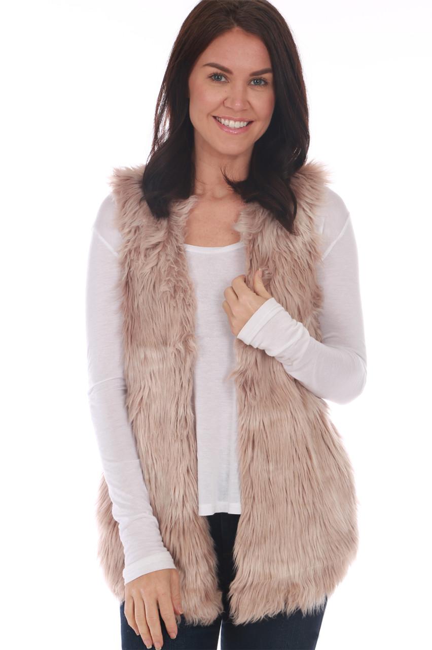 4c5d6f7c176 Melange Long Faux Fur Vest - M.Fredric