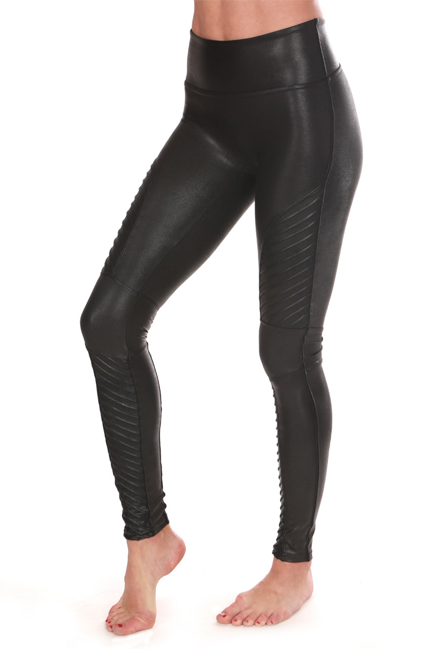 3a4c2fd857d7a These black leggings by Spanx feature a mid rise with super slimming  control top, moto