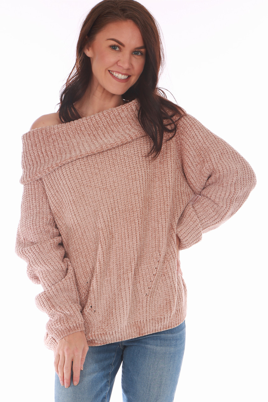 d874157cef Off the Shoulder Chenille Sweater in Charcoal or Sand. One Size fits all  Shoulder To