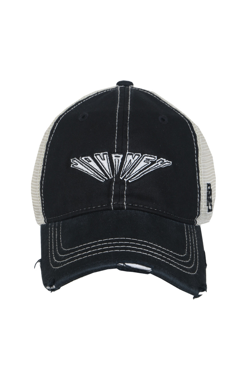 2036b99dd87b7a Front shows black trucker hat featuring a distressed curved brim, mesh  sides, adjustable plastic