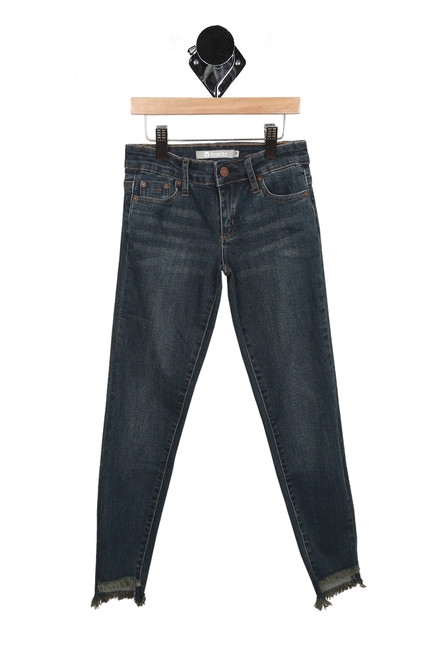 520b5e71a0 front of jeans have zipper and button fly, 2 pockets and bottom raw edge  hemline