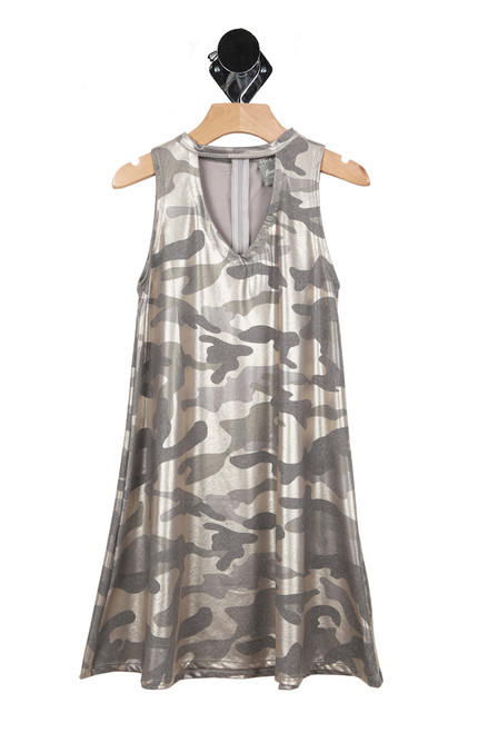 Front shows over sized grey and white cameo dress with v shape neck line.