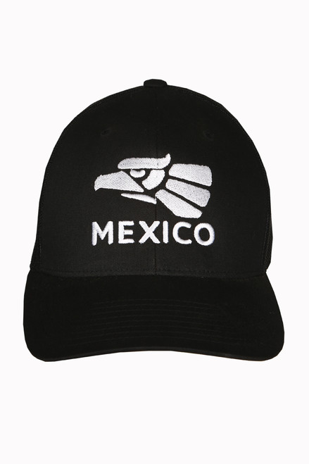 Black cap, embroidered eagle and Mexico on front side.