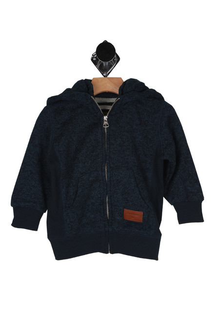quicksilver hoodie, blue, cuffs, navy blue trim