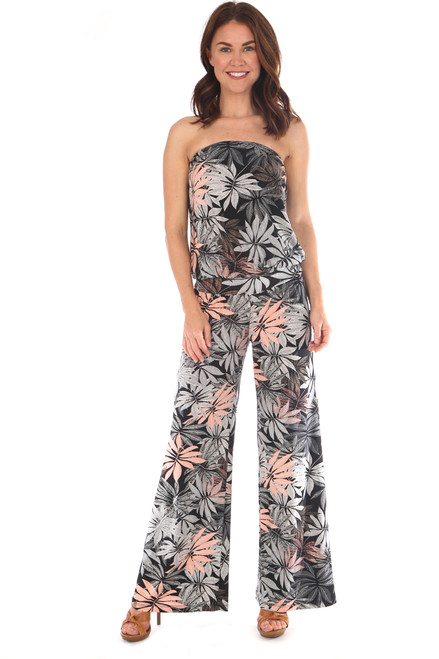 Strapless striped flared jumpsuit fit true to size.  Large floral print in gray, black and peach.  Shoulder To Hem Measurement: Approximately 51 inches.  94% Polyester, 6% Spandex.  Machine Wash Cold, Tumble Dry Low.