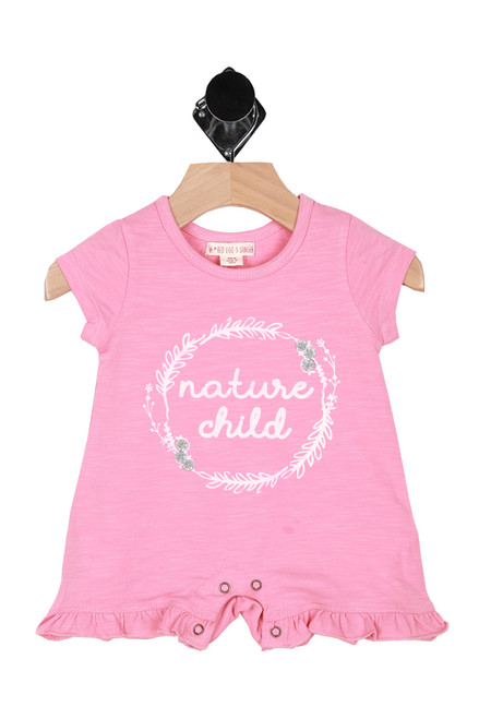 "Front shows pink short sleeve romper with the words ""Nature Child""written in white."