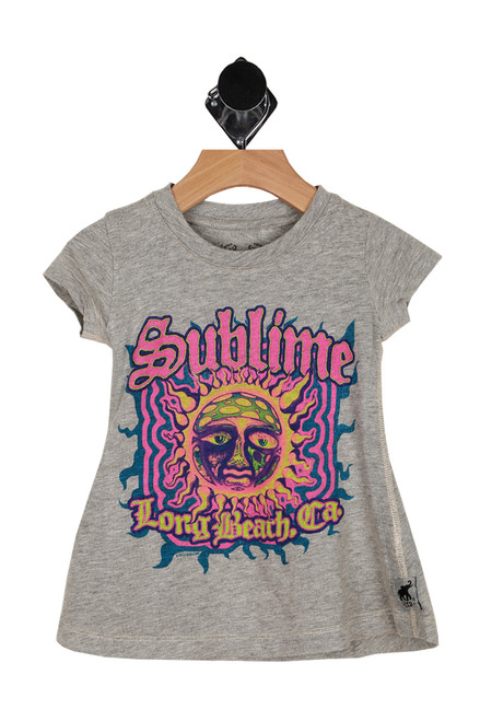 "Front shows grey tee with 'Sublime"" band design with hot pink, blue and yellow sun."