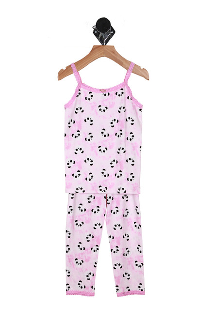 47f9559cba3b Mesh Detail Leggings (Little Kid).  23.00. Front shows pink two piece  matching pajama set with panda patterns all over.