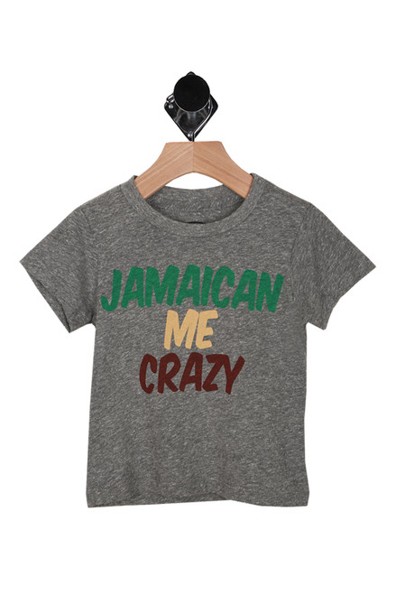 "Front shows Grey tee with ""Jamaican Me Crazy"" words written in green yellow, and red."
