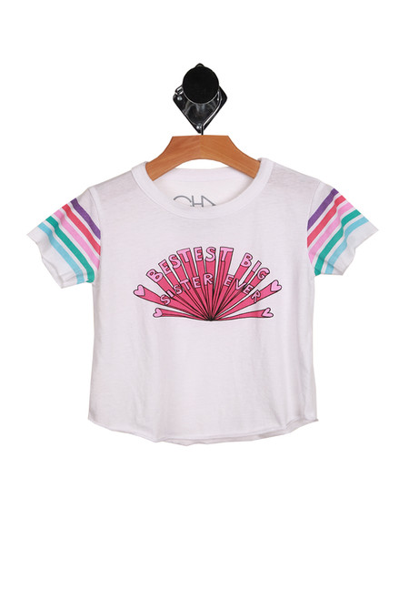 "short sleeve white tee with light blue, teal, pink, hot pink & purple stripes at sleeves and ""BESTEST BIG SISTER EVER"" written at front in hot pink"