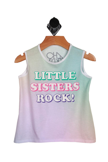 "ombre teal, green & pink tank with ""little sisters rock"" printed in bubble letter font at front."