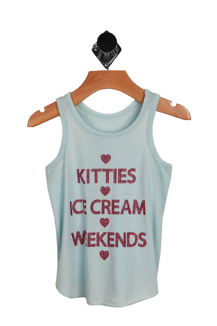 "light blue tank with ""cuties ice cream weekends"" printed at front in pink glitter writing"