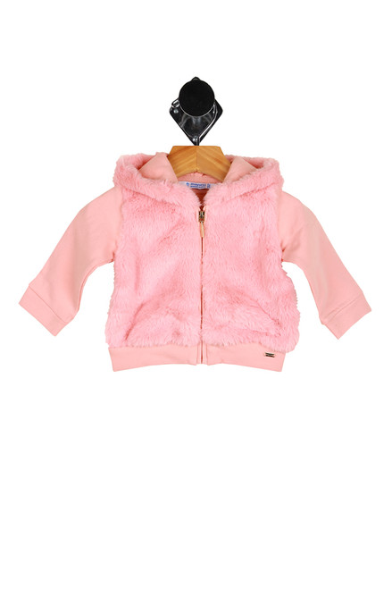 front shows faux fur pink jacket featuring a gold zipper closure at front, hood, long sleeves and faux fur at front vest and hood.