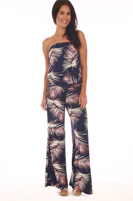 d09f0ce0e5d Front shows navy blue tube top jumpsuit with all over palm tree design
