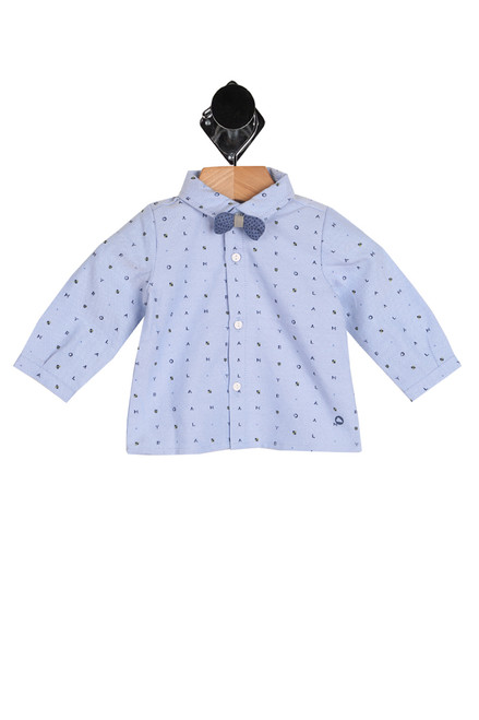 front shows blue button up long sleeve featuring a detatchable bow tie with an all over Mayoral lettering printed, long sleeves and 3-button up front.