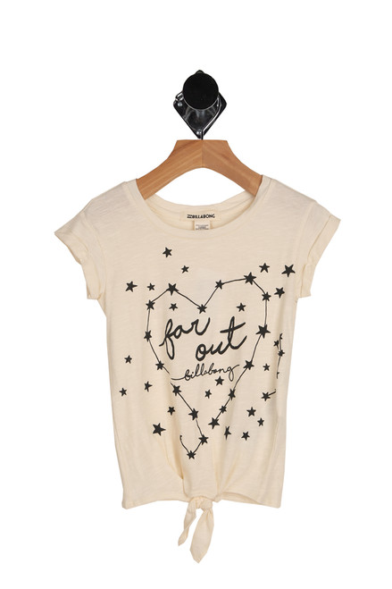 "front shows cream colored tee featuring stars and a heart with ""Far out"" printed at front with cuffed short sleeves and knotted bottom tie."