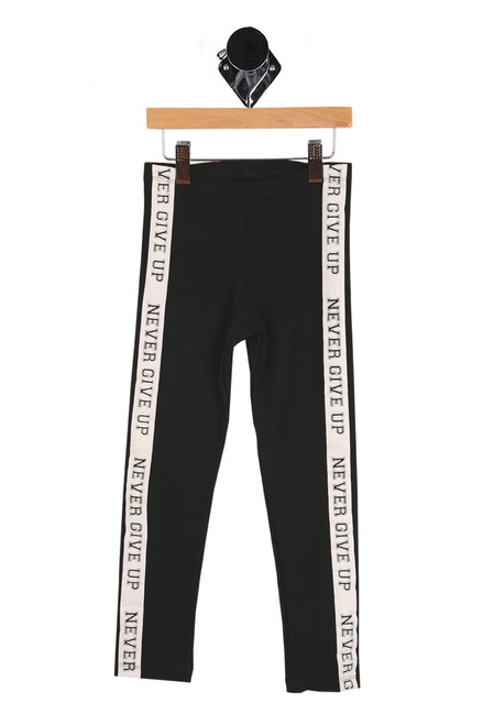 "front shows black long leggings featuring ""Never give up"" printed at both sides, with white vertical stripe, elastic band around waist and super stretchy material for the perfect leggings."