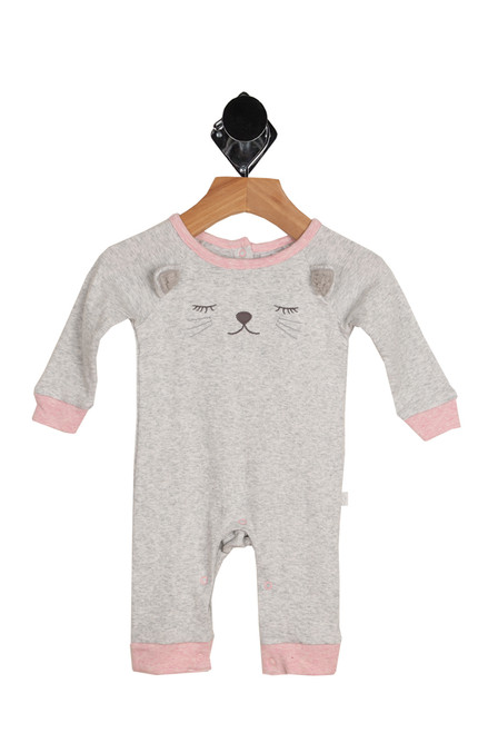 front shows light grey and pink outlined onesie featuring a sleeping cat face at front with snap closure at legs and 3-snap closure at top back.