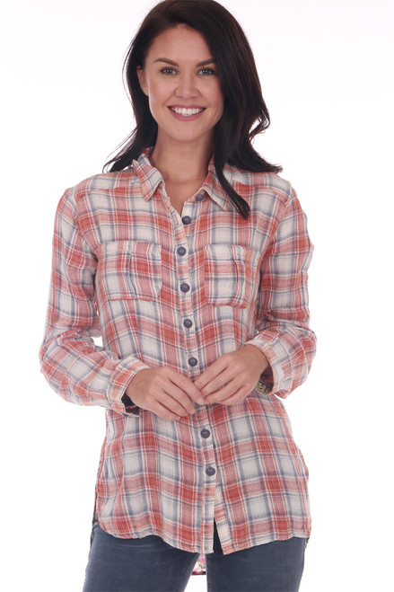 front shows red and white long sleeve plaid blouse featuring a button up front with hi-lo hemline and contrasting back print.