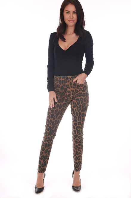 Leopard print, high waisted Joe's Jeans! Feature a skinny un-finished hem leg, all over leopard print and stretchy material. True To Size. Rise: Approximately 10 in. Inseam: Approximately 27.5 in. 52% Lyocell, 35.7% Cotton, 10.5% Polyester, 1.8% Spandex.  Dry Clean Recommended; Machine Wash Cold, Hang Dry.