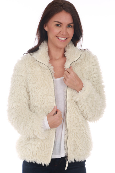 Dylan white faux fur jacket features a zip up front with side pockets and the softest jersey knit material lining the inside. True To Size. Shoulder To Hem Approximately 24 in.  100% Polyester. Machine Wash Cold, Tumble Dry Low.