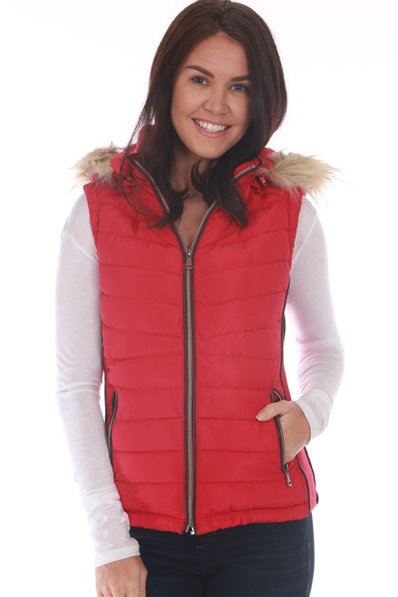 Red vest by Greenlander features a faux fur lining on inside, zip front, detachable faux fur-lined hood, ribbed sides and zipper closure side pockets. True To Size. Shoulder To Hem Measurement: Approximately 23 in. Shell - 100% Polyester, Faux Fur Lining - 100% Polyester, Filling - 100% Polyester, Rib - 100% Polyester, Fur Hood Trim - 80% Acrylic, 20% Polyester. Machine Wash Cold, Hang Dry.