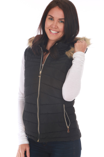 The perfect Winter vest! This black vest by Greenlander features a faux fur lining on inside, zip front, detachable faux fur-lined hood and zipper closure side pockets! True To Size. Shoulder To Hem Measurement: Approximately 23 in. Shell - 100% Polyester, Faux Fur Lining - 100% Polyester, Filling - 100% Polyester, Rib - 100% Polyester, Fur Hood Trim - 80% Acrylic, 20% . Machine Wash Cold, Hang Dry.
