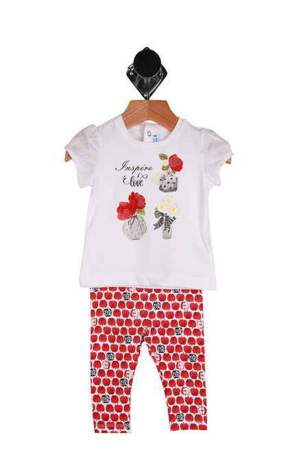 Love Apples short sleeve top and leggings set for infant.  Red leggings with graphics of apples, some saying love in them.  Coordinating top with three graphics of flowers in vases and the words Inspire Love. Fabric Content: Top - 95% Cotton, 5% Elastane, Leggings - 92% Cotton, 8% Elastane.  Machine Wash Cold Inside Out, Tumble Dry Low.