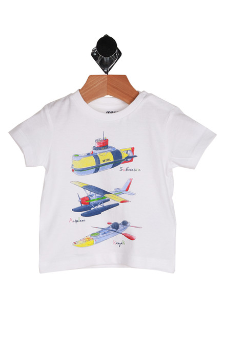 Infants water sports short sleeve t-shirt.  White with 3 graphics; submarine, water plane, and kayak.  The graphics are in blue, red and yellow.  100% Cotton.  Machine Wash Cold Inside Out, Tumble Dry Low.